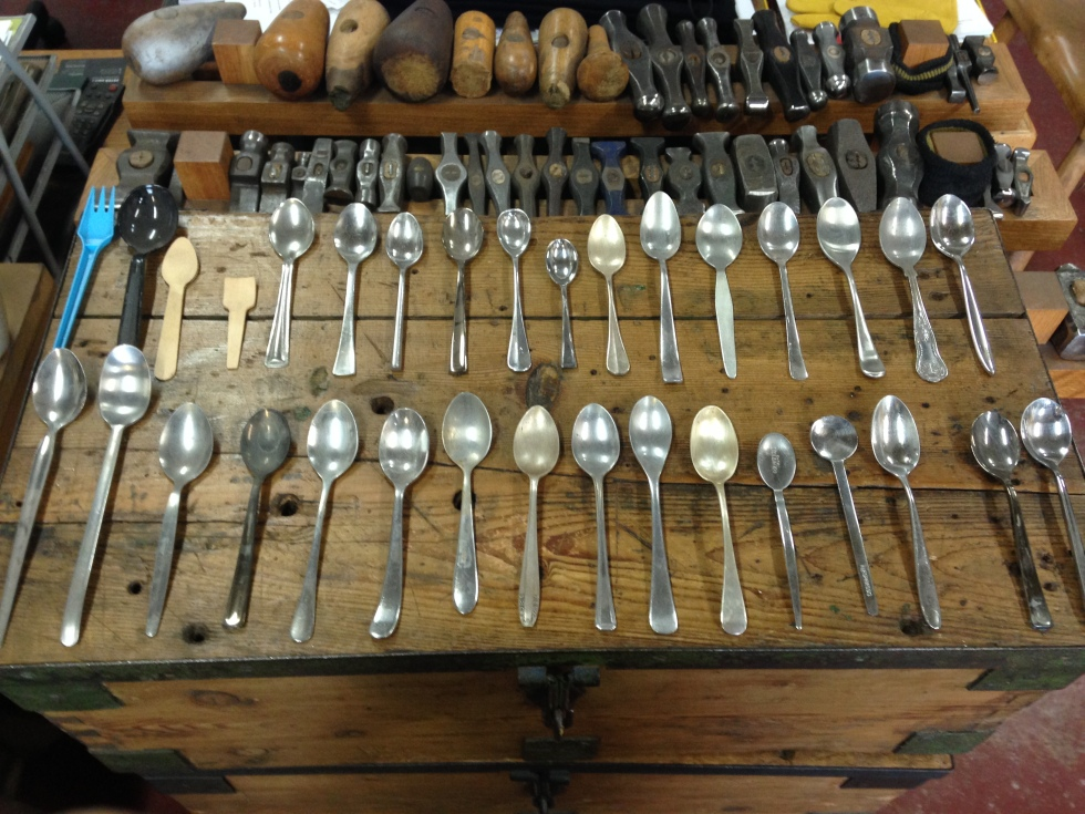 The workshop teaspoon collection - acquired over the years from antique parlours, fish and chip shops and train station cafes the length and breadth of the country