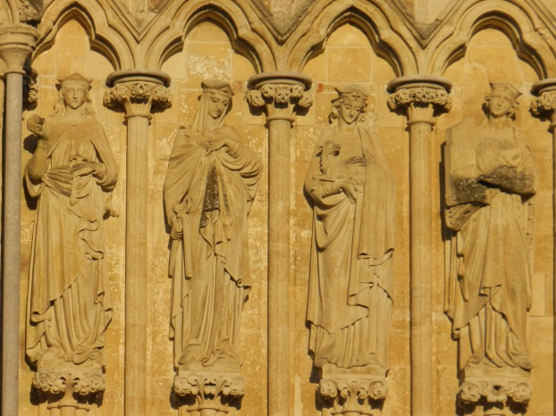 Four Salisbury Sunbathers, stonemasonry detail at Salisbury Cathedral