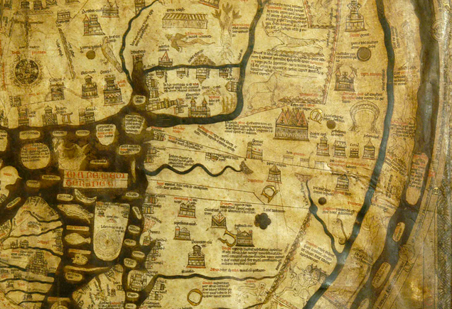 Detail of Mappa Mundi, Hereford Cathedral